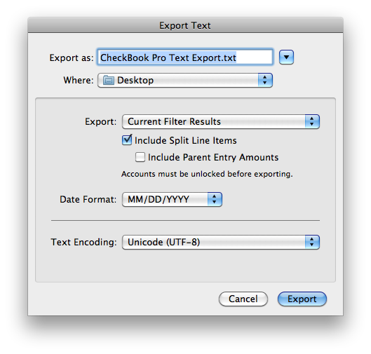 CheckBook Pro 2.5's new Text Export options