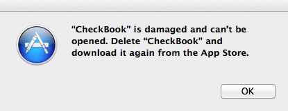 the mac app store says checkbook or checkbook pro is damaged it s